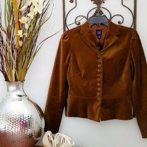 GAP Chocolate Brown Velvet Butoon Blazer Size 4